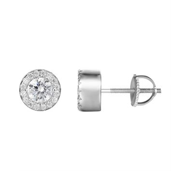 Halo Solitaire Iced Out Stud 14k White Gold Finish Earrings