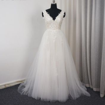 Detachable Outskirt Wedding Dress Dancing Bridal Dress A line Lace Appliqued Beaded V Neck Two Piece Bridal Gown