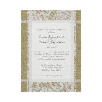 Lace and Burlap Country Romance Wedding Custom Announcements from Zazzle.com