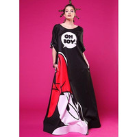 Womens Maxi Dress Mickey Printed Long Floor length Dress Sexy Backless Vintage Party Clubwear Long Dress Vestidos