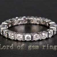 Unique Bezel .85ct Diamond Solid 14k White Gold Wedding Eternity Band Ring 2.87g