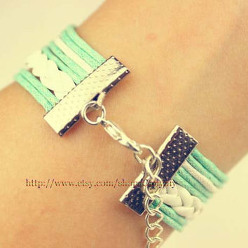 Owl bracelet - love and sisters bracelet - mint green wax rope white braided leather bracelet, the best gift of friendship
