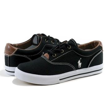 Polo Ralph Lauren Boy's Vaughn Black Canvas Sneakers Shoes