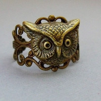 Antique Brass Wise Old Owl Ring by pinkingedgedesigns on Etsy