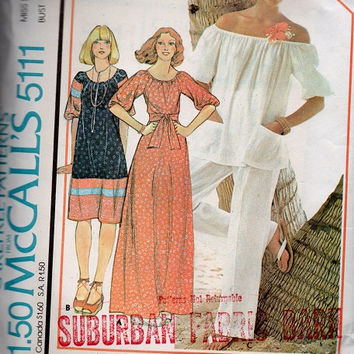 Retro Boho Hippie Style Off Shoulder Pullover Top Maxi Dress Loose Blouse Shirt Fit 70s McCall's Sewing Pattern Uncut Large
