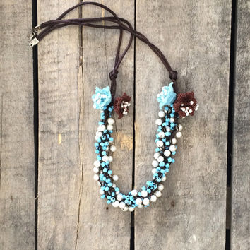 Blue Brown Crochet Statement Necklace, Wedding Jewelry, Bib Necklace, Beadwork, ReddApple, Gift Ideas For Her, Handmade Beaded Jewelry