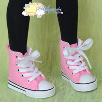Doll Shoes Ankle Lace-Up Cons Canvas Sneakers Boots Pink for SD Girl Dollfie BJD Ball Jointed Dolls