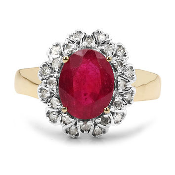 A Vintage 2.66CT Oval Cut Genuine Ruby & White Diamond 10K Yellow Gold Ring