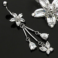 Flower and Butterfly Clear Gem Dangle Belly Ring Navel Naval (w159)