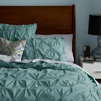 Organic Cotton Pintuck Duvet Cover + Shams - Oceania