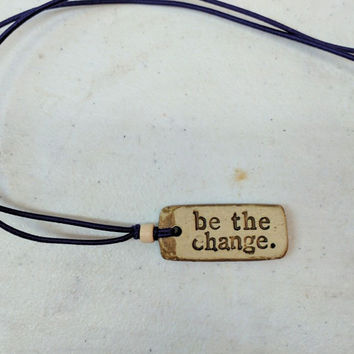 "MudLove Necklace "" Be the Change "" Hand Made Clay Pendant, Multi Color Bands"