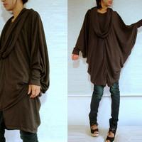 Boho Oversized Womens Brown Blouse / Brown Tunic / Oversized Tunic / Extra Large long sleeve Poncho tunic dress with scarf, Chocolate brown