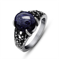 Gift New Arrival Jewelry Stylish Shiny Palace Vintage Gemstone Strong Character Titanium Accessory Ring [6542648451]