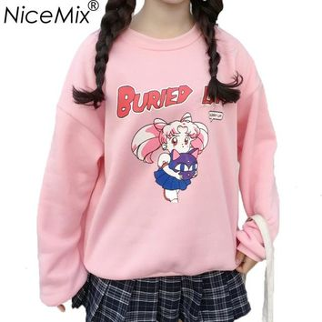 NiceMix 2018 Harajuku Kawaii Hoodies Women Tops Print Sailor Moon Sweatshirt Female Oversize Loose Thick Hooded Moletom Feminino