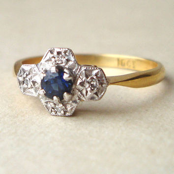Art Deco Sapphire & Diamond Engagement Ring, Antique Geometric Flower 18k Gold Ring, Approximate Size US 7
