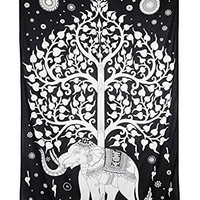 Zest For Life Elephant Tree Tapestry Tablecloth Beach Sheet Wall Art 80x52 Inches - FREE Sticker Included