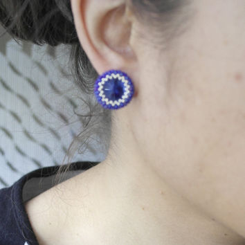 Handmade Earring Peyote Crystal Blue Sapphire Stud Post Vintage Summer Beaded jewelry Geometric Beadwork
