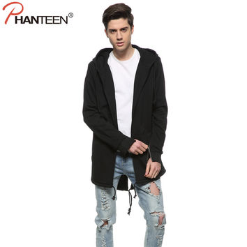 European And American Dark Cloak Long Length Hooded Man Jackets Asymmetric Inclined Arc Cardigan Hoodie Fashion Men Clothing
