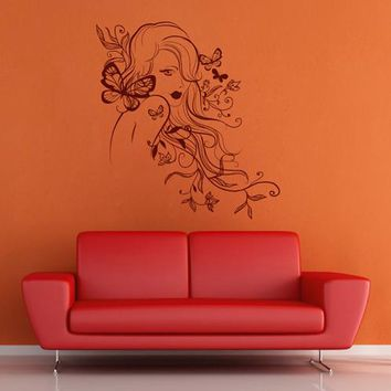 ik1915 Wall Decal Sticker face makeup girl flowers hairdressing salon