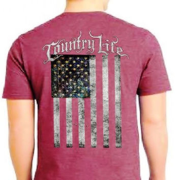 Country Life Outfitters Vintage USA Flag Unisex T-Shirt