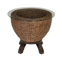 Unique Wicker and Glass Contemporary End Table