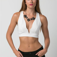 (anb) Racer back cropped plunge ivory sleeveless top