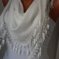 White Shawl Scarf - Headband Cowl with Lace Edge-Summer Trends