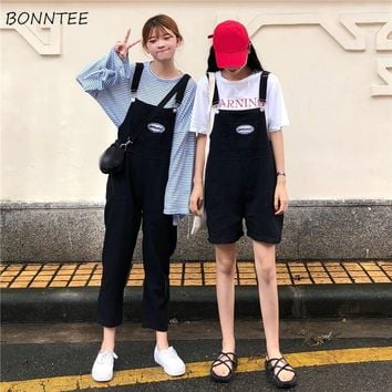 Jumpsuits Women Girlfriends Clothing High Waist Solid Chic Womens Jumpsuit Loose Korean Style Pockets Ladies All-match Students