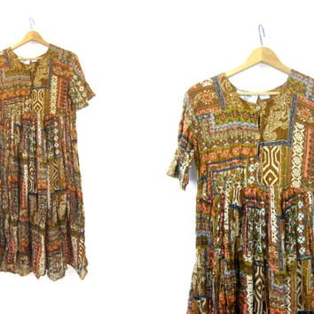 Vintage BOHO Ethnic Long Slip Dress Cotton Guaze India dress Brown Ochre SunDress Earthtone Print Made in India Womens Large