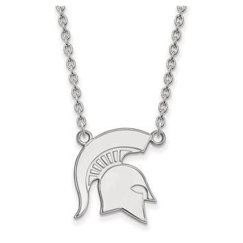 NCAA 14k White Gold Michigan State Large Pendant Necklace