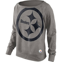 Pittsburgh Steelers Women's Nike Wildcard Grey Dri-FIT Crew Fleece - Official Online Store