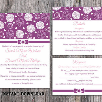 DIY Wedding Invitation Template Set Editable Word File Instant Download Printable Purple Wedding Invitation Floral Rose Wedding Invitation