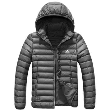 Adidas New fashion keep warm couple high quality cap removable hooded down jacket Gray