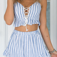 Blue Striped Ruffle Lace-Trim Front Cropped Top And Shorts