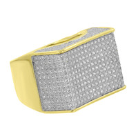 Gold Finish Mens Ring Pave Set Simulated Diamonds Sterling Silver