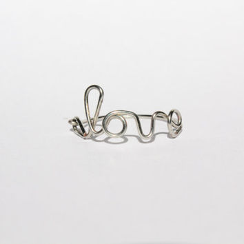 Silver Love Wire Ring