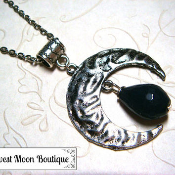 Sapphire Gemstone Lunar Moon Necklace Metaphysical Spiritual Lunar Moon Jewelry Blue Sapphire Celestial Jewelry Wiccan Pagan Witchcraft Gift