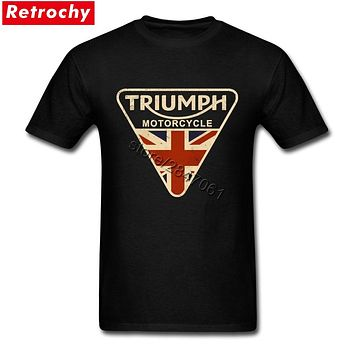 Craked Union Jack Triumph Motorcycle Shirt UK Flag Clothing Men T Shirt Men's Vintage Tee Tops Branded Gifts for Valentines Day