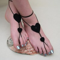 Black Barefoot sandals, beach wedding jewelry, bridal shoes, bridemaid accessory from MaryK Creations