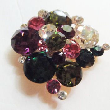 Fabulous Large Multicolored Rhinestone Pin/Brooch Vintage Vogue 1960 Bookpiece
