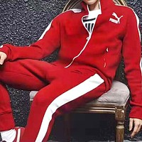 Free shipping-PUMA autumn stand collar cardigan sports two-piece suit red