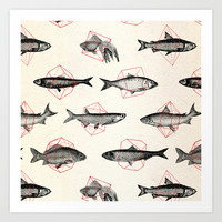 Fishes In Geometrics (Red) Art Print by Speakerine / Florent Bodart