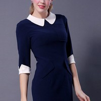 Contrast Peter Pan Collar Dress - OASAP.com