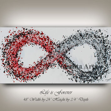 "Infinity Symbol Original Abstract Painting, Oil Painting, Red and Black, Modern Style 48"" Large Modern Painting on Canvas - Nandita Albright"