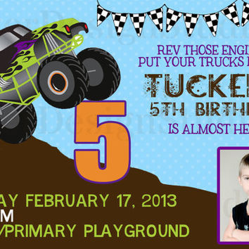 Grave Digger Monster Truck Birthday Invitation - Printable