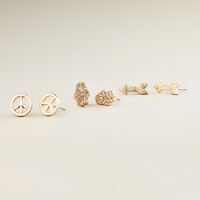 Arrow and Peace Sign Trio Stud Earrings - World Market