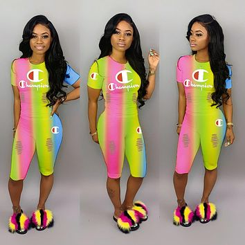 Champion Fashionable Women Casual Rainbow Gradient Short Sleeve Top Pants Set Two-Piece Sportswear