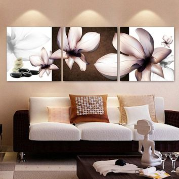 3 Pcs Abstract Flowers Magnolia Canvas Painting Modern Wall Pictures for Living Room Vintage Wall Art Painting Canvas Prints