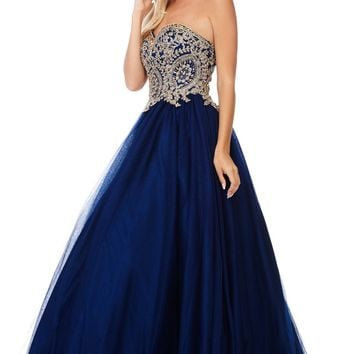 Lace gold embroidered bodice navy quinceanera dress Bc#NQ6543