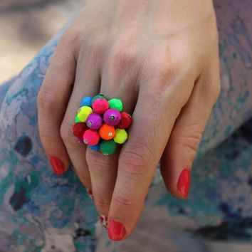 Colorful Ring, Adjustable Ring, Multicolor Ring, Neon Ring, Cha Cha Ring, Novelty Ring, Summer Ring, Teen Girl Ring, Cute Ring, Cluster Ring